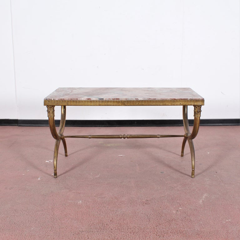 Mid-Century Modern Midcentury Paolo Buffa Marble and Brass Coffee Table, 1950s, Italy For Sale