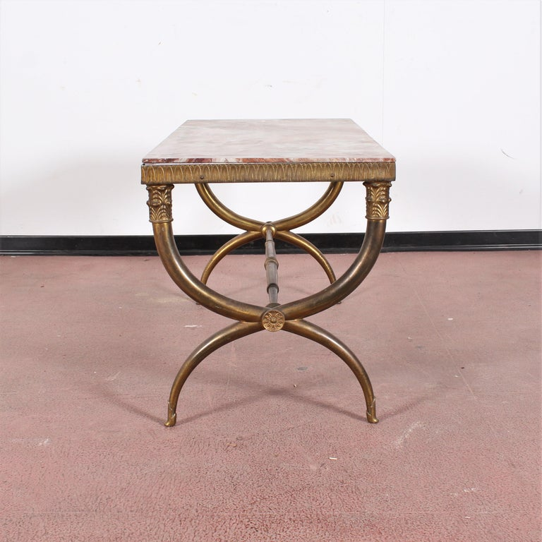 Italian Midcentury Paolo Buffa Marble and Brass Coffee Table, 1950s, Italy For Sale
