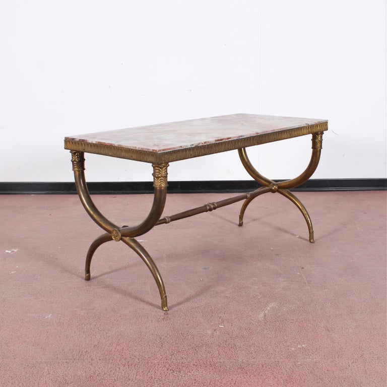 Midcentury Paolo Buffa Marble and Brass Coffee Table, 1950s, Italy In Good Condition For Sale In Palermo, IT