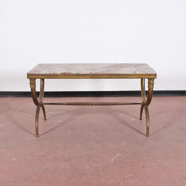 Mid-20th Century Midcentury Paolo Buffa Marble and Brass Coffee Table, 1950s, Italy For Sale