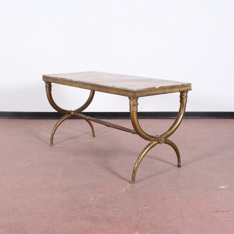 Midcentury Paolo Buffa Marble and Brass Coffee Table, 1950s, Italy For Sale 1