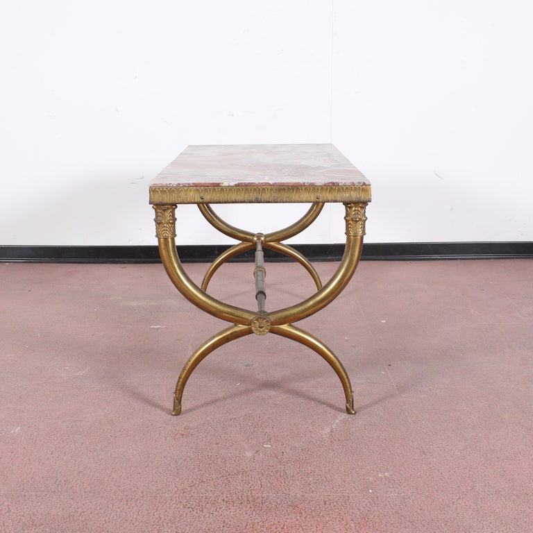 Midcentury Paolo Buffa Marble and Brass Coffee Table, 1950s, Italy For Sale 2
