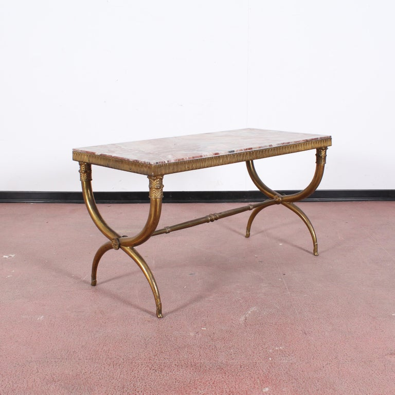 Midcentury Paolo Buffa Marble and Brass Coffee Table, 1950s, Italy For Sale 3