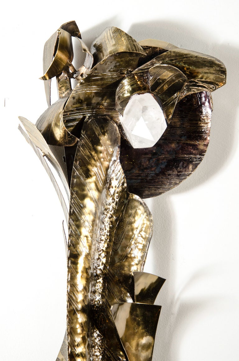 Mid-Century Modern Midcentury Patinated Bronze and Rock Crystal Wall Sculpture by Marc D'Haenens For Sale