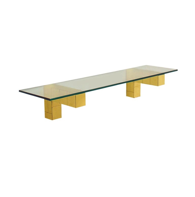 Mid-Century Modern Mid Century Paul Evans Cityscape Floating Shelf or Console Table Glass & Brass For Sale