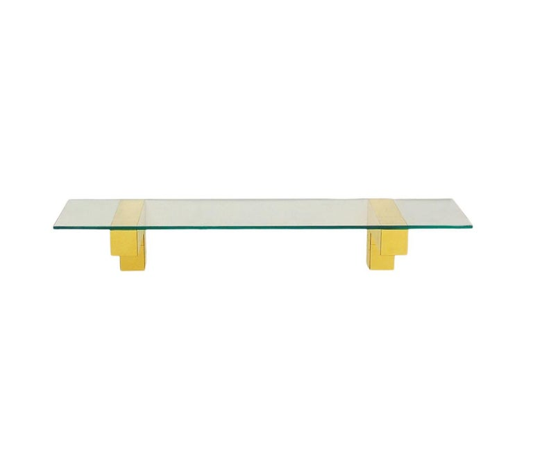 American Mid Century Paul Evans Cityscape Floating Shelf or Console Table Glass & Brass For Sale
