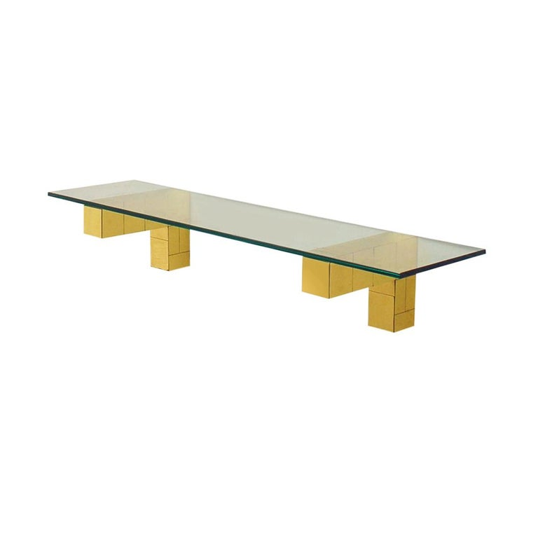 Mid Century Paul Evans Cityscape Floating Shelf or Console Table Glass & Brass In Good Condition For Sale In Philadelphia, PA
