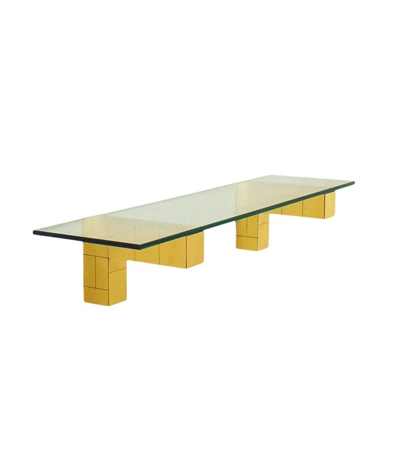 Late 20th Century Mid Century Paul Evans Cityscape Floating Shelf or Console Table Glass & Brass For Sale