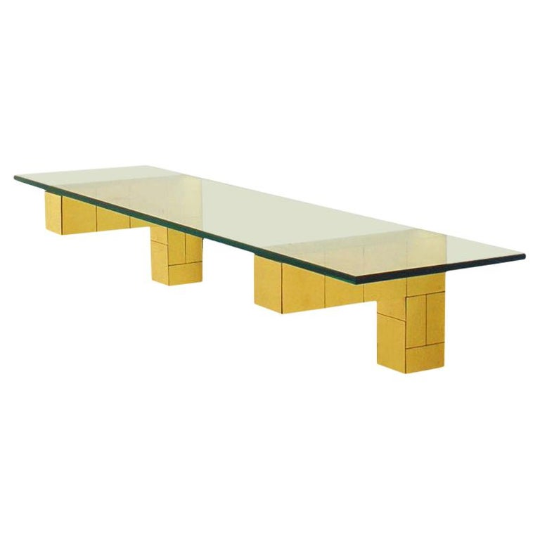 Mid Century Paul Evans Cityscape Floating Shelf or Console Table Glass & Brass For Sale