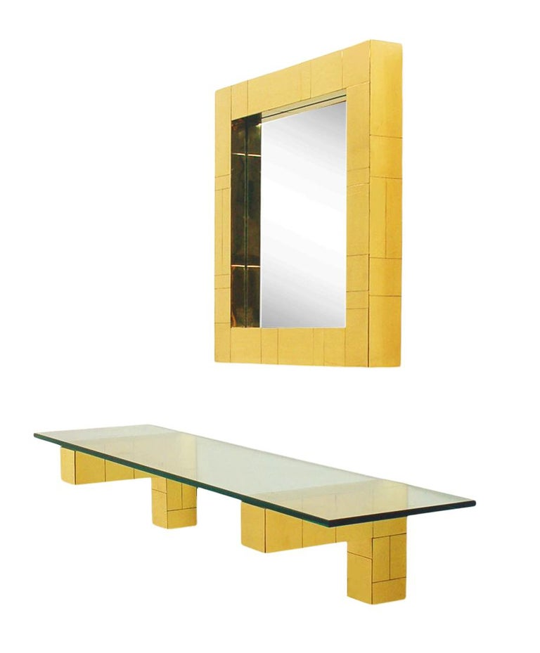 American Mid Century Paul Evans Cityscape Wall Mirror & Console Table Shelf in Brass For Sale