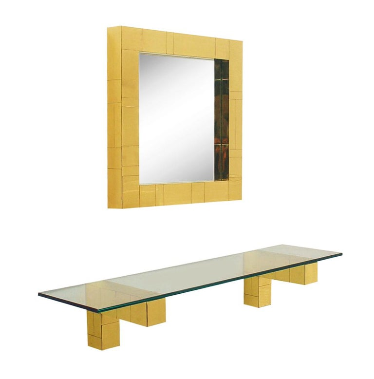 Late 20th Century Mid Century Paul Evans Cityscape Wall Mirror & Console Table Shelf in Brass For Sale