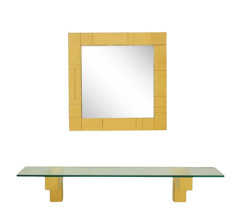 Mid Century Paul Evans Cityscape Wall Mirror & Console Table Shelf in Brass For Sale 1