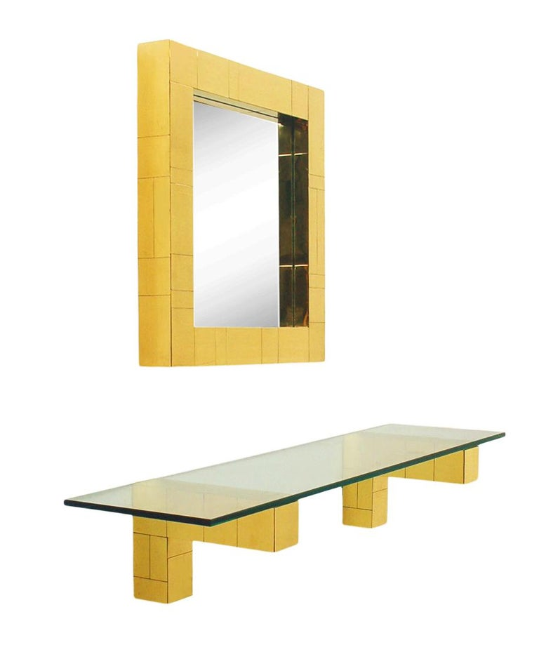 Mid Century Paul Evans Cityscape Wall Mirror & Console Table Shelf in Brass For Sale 2