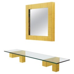 Mid Century Paul Evans Cityscape Wall Mirror & Console Table Shelf in Brass