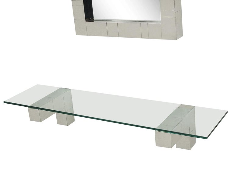 Mid Century Paul Evans Cityscape Wall Mirror & Console Table Shelf in Chrome For Sale 3