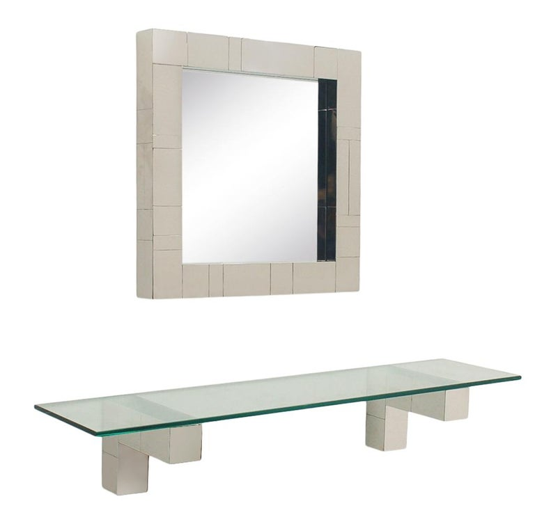 Mid Century Paul Evans Cityscape Wall Mirror & Console Table Shelf in Chrome For Sale 4