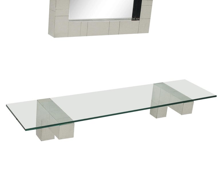 Mid-Century Modern Mid Century Paul Evans Cityscape Wall Mirror & Console Table Shelf in Chrome For Sale