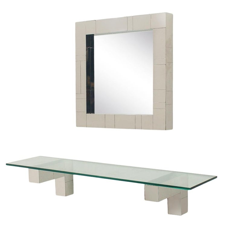 American Mid Century Paul Evans Cityscape Wall Mirror & Console Table Shelf in Chrome For Sale