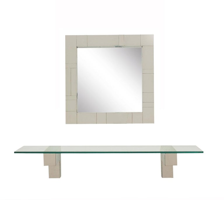 Late 20th Century Mid Century Paul Evans Cityscape Wall Mirror & Console Table Shelf in Chrome For Sale