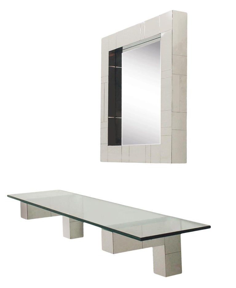 Mid Century Paul Evans Cityscape Wall Mirror & Console Table Shelf in Chrome For Sale 1