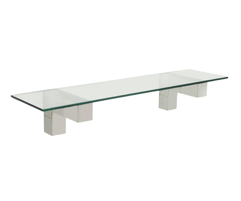 Mid Century Paul Evans Cityscape Wall Mirror & Console Table Shelf in Chrome For Sale 2