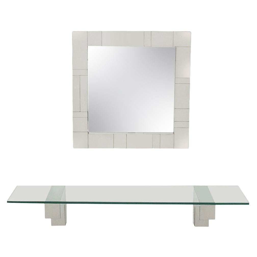 Mid Century Paul Evans Cityscape Wall Mirror & Console Table Shelf in Chrome