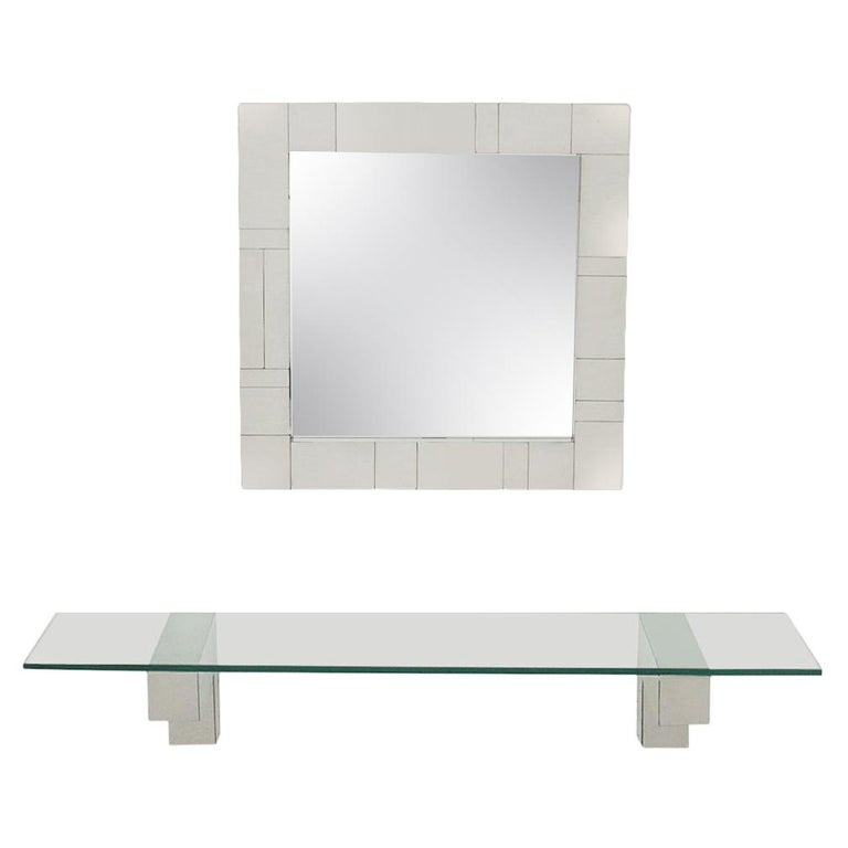 Mid Century Paul Evans Cityscape Wall Mirror & Console Table Shelf in Chrome For Sale