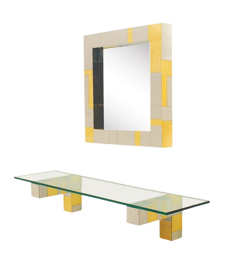 Mid-Century Modern Mid Century Paul Evans Wall Mirror & Console Table Shelf in Brass & Chrome For Sale