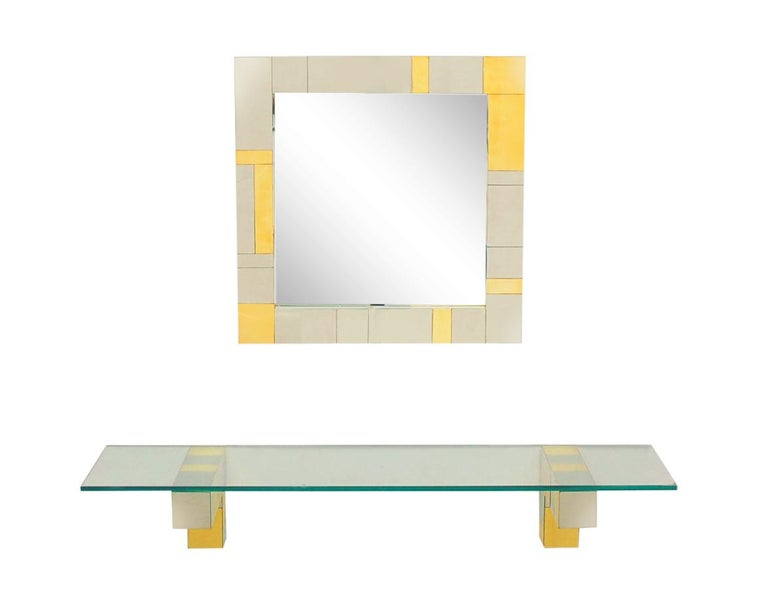 American Mid Century Paul Evans Wall Mirror & Console Table Shelf in Brass & Chrome For Sale