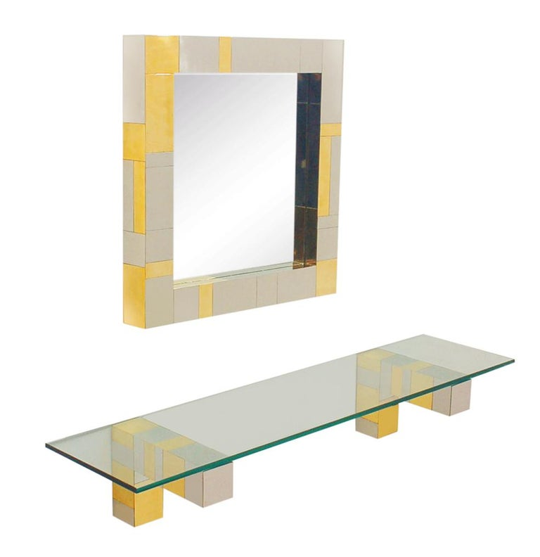 Mid Century Paul Evans Wall Mirror & Console Table Shelf in Brass & Chrome In Good Condition For Sale In Philadelphia, PA