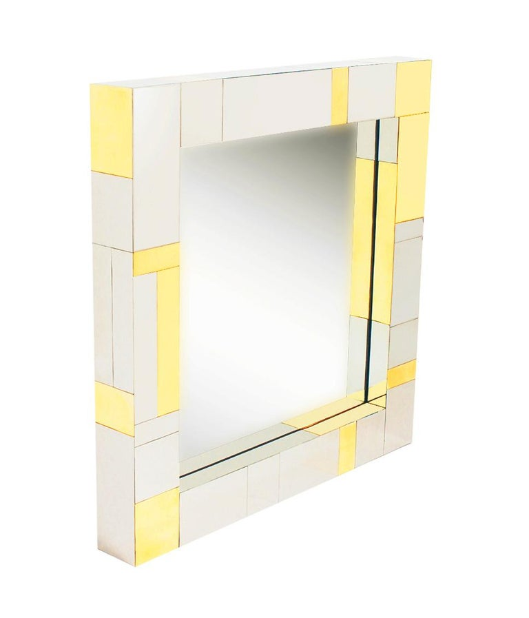 Late 20th Century Mid Century Paul Evans Wall Mirror & Console Table Shelf in Brass & Chrome For Sale