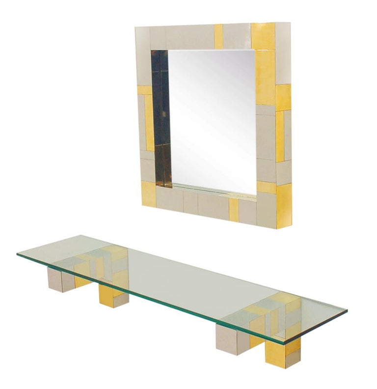 Mid Century Paul Evans Wall Mirror & Console Table Shelf in Brass & Chrome For Sale 1