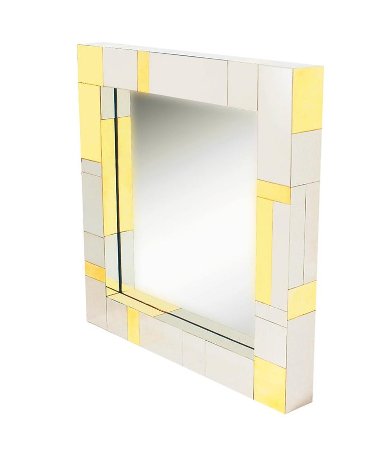 Mid Century Paul Evans Wall Mirror & Console Table Shelf in Brass & Chrome For Sale 2