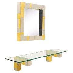 Mid Century Paul Evans Wall Mirror & Console Table Shelf in Brass & Chrome