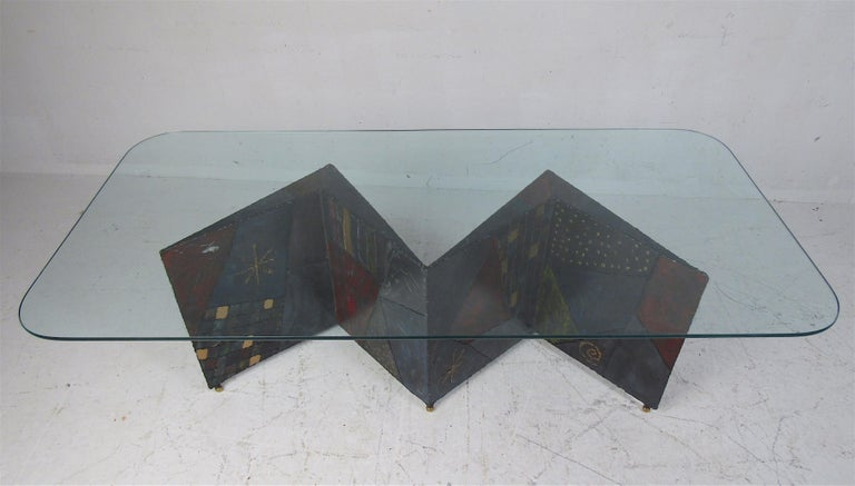 Mid-Century Modern Midcentury Paul Evans Zig-Zag Welded Coffee Table For Sale