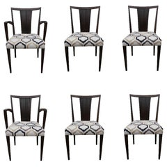 Midcentury Paul Frankl Dark Wood Dining Chair Set