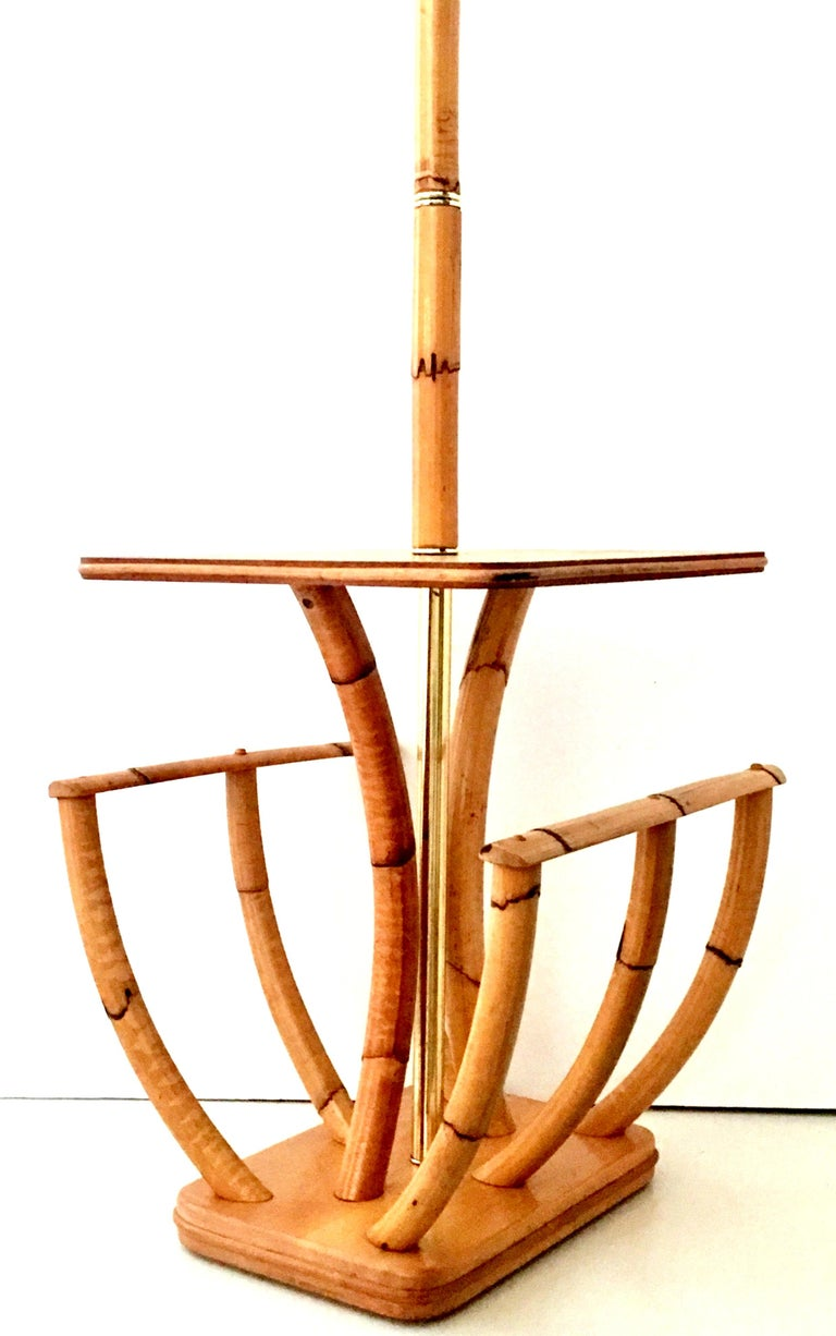 Midcentury Paul Frankl Style Rattan Reed and Brass Table Floor Lamp For Sale 2