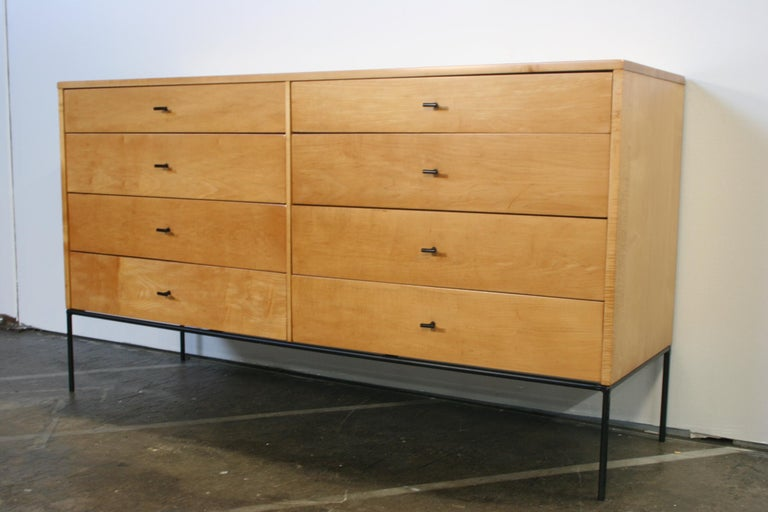 Vintage Paul Mccobb mid century 4 drawer walnut finish maple tall dresser box brass knobs very clean