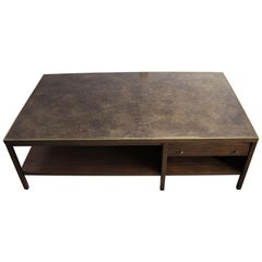 Mid Century Paul McCobb for Calvin Two Tiered Leather Top Coffee Table