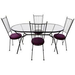 Midcentury Paul McCobb Style Antarenni CastIron Dining Set, 5 Pieces