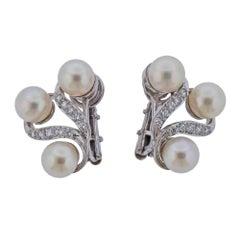 Mid Century Pearl Diamond Gold Earrings