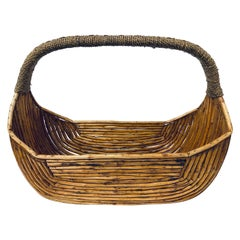 Midcentury Pencil Reed Basket with Woven Handle, 1970s
