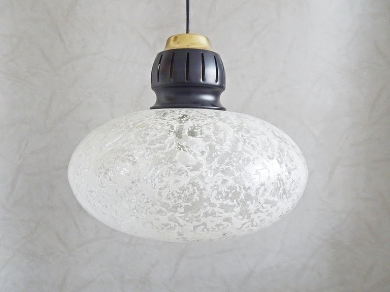 Midcentury pendant by Doria, Germany, 1960s. Thick, blown glass shade.