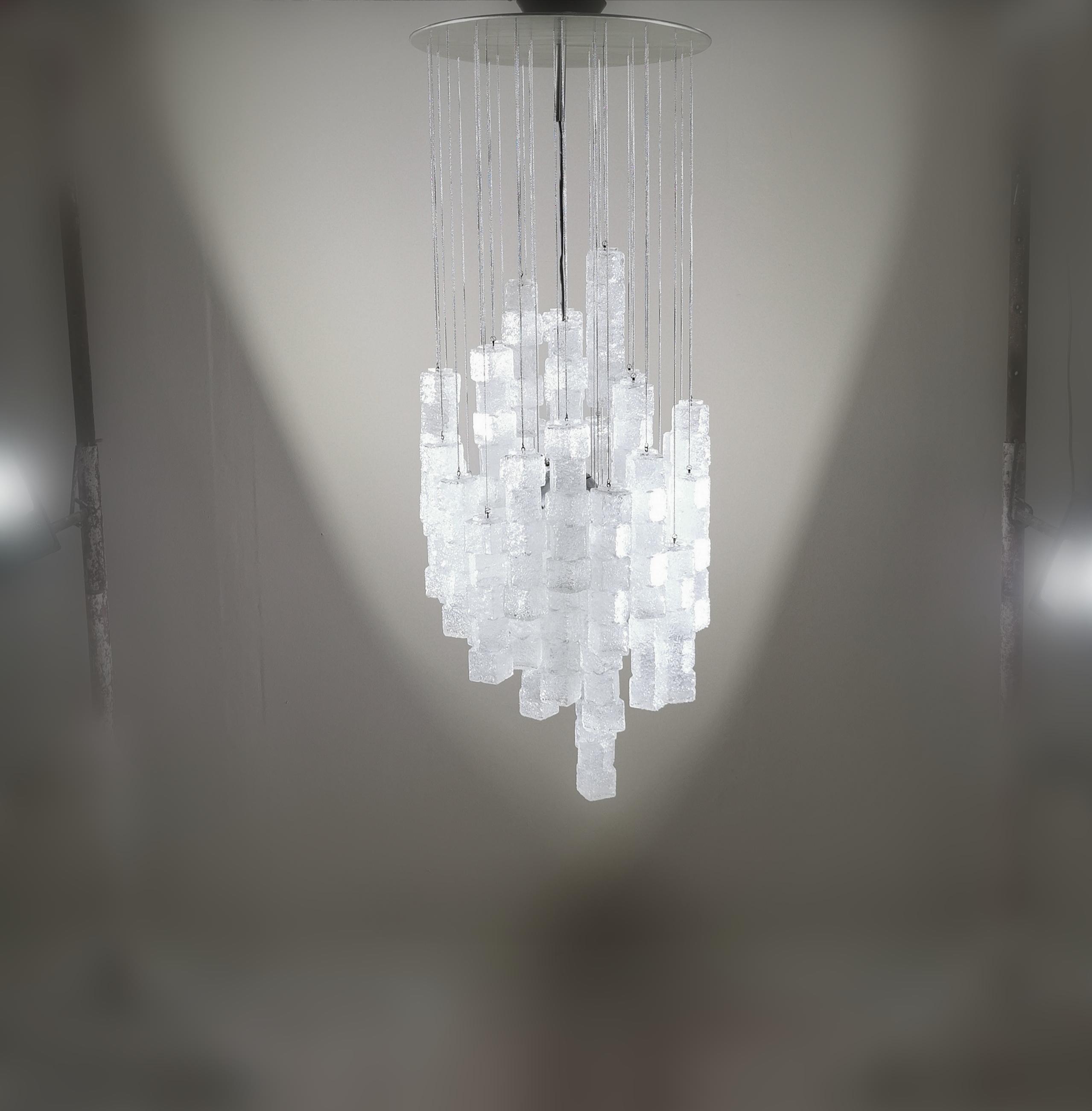 Italian vintage murano glass and chrome chandelier by Zero4 Milano.
