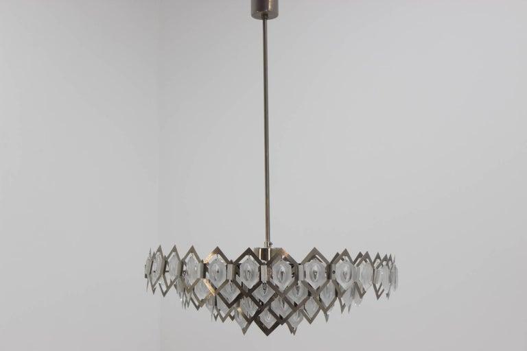 Midcentury Pendant Chandelier Kamenický Šenov Designed by Jaroslav Bejvl, 1970s  For Sale 1