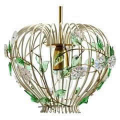 Mid Century Pendant Lamp with Metal Grid and Glass Stones Vereinigte Werkstätten