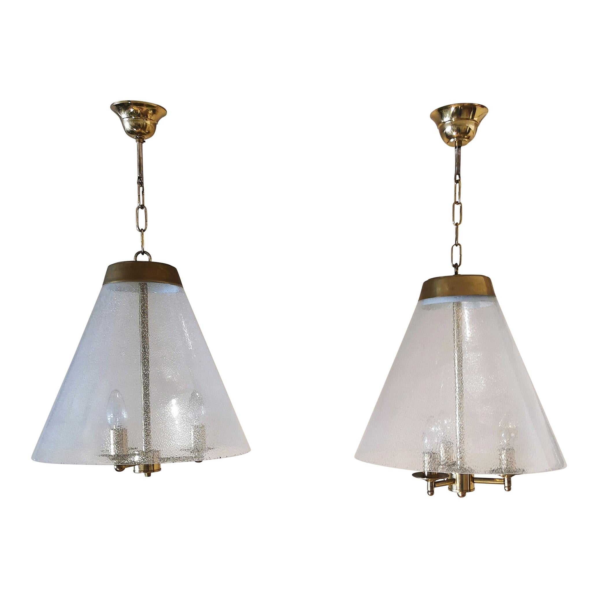 Mid Century Chandeliers Bubble Glass Brass in the Style of Venini Italy 1950s