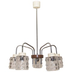 Midcentury Pendant with Five Cut-Glass Lampshades, Lidokov, 1960s