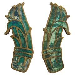 Midcentury Pepe Mendoza Pull Handles in Brass with Ceramic Inlay