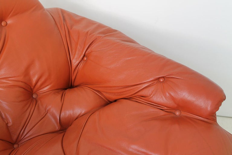 Midcentury Percival Lafer Style Cognac Tufted Leather Armchairs, 1970s For Sale 3